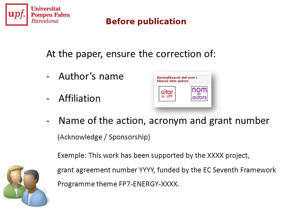 At the paper, ensure the correction of: Author's name Affiliation