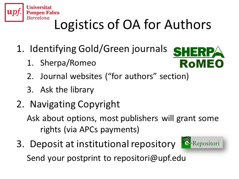 Logistics of OA for Authors
