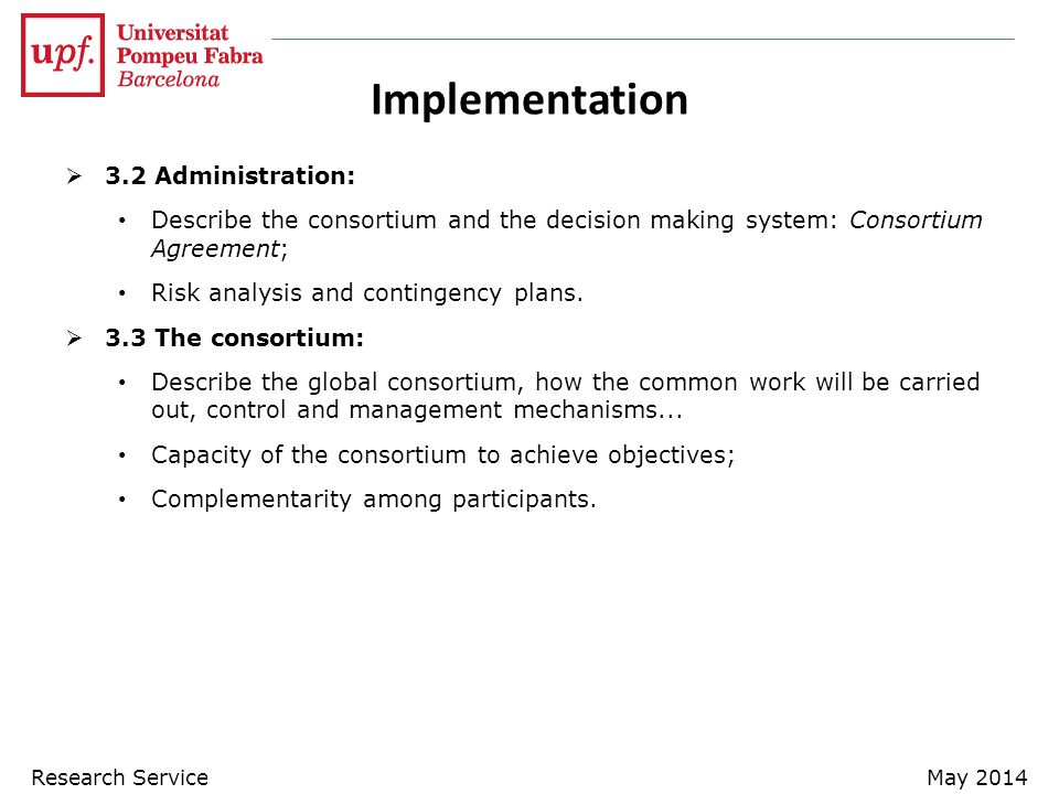 Implementation 3.2 Administration: