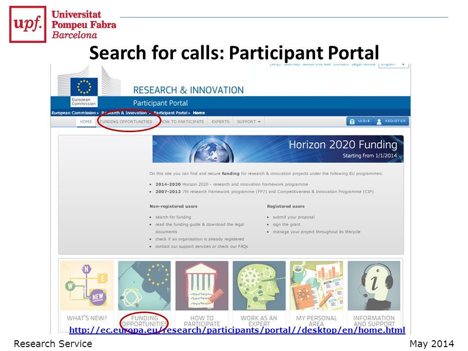 Search for calls: Participant Portal