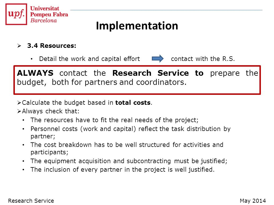 Implementation 3.4 Resources: Detail the work and capital effort contact with the R.S.