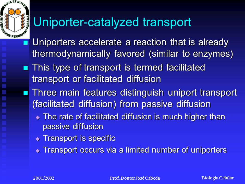 Uniporter-catalyzed transport