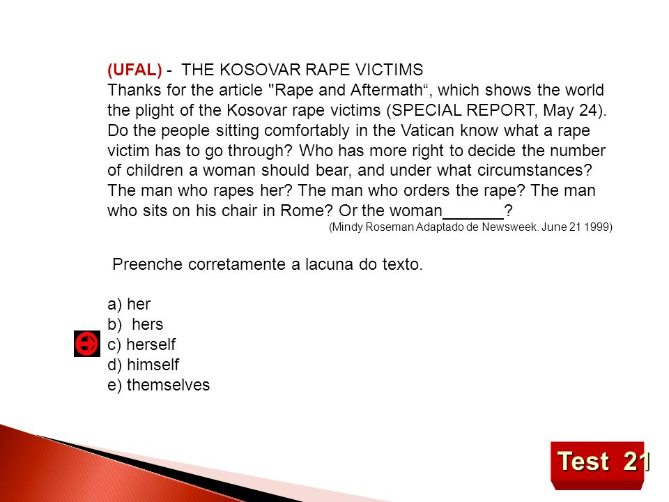 Test 21 (UFAL) - THE KOSOVAR RAPE VICTIMS