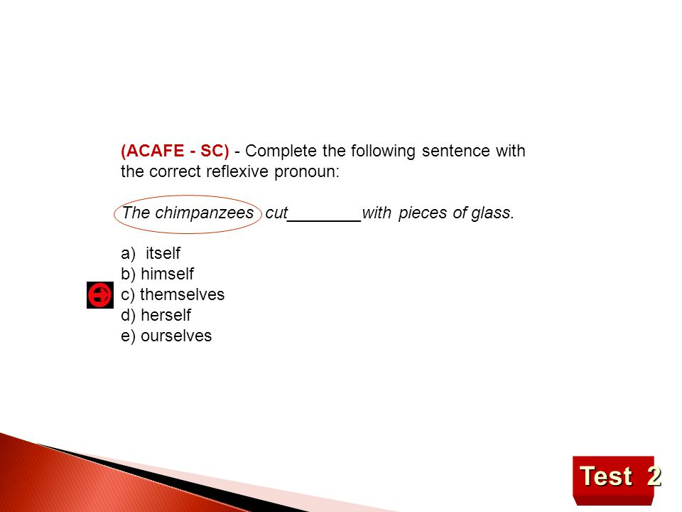 (ACAFE - SC) - Complete the following sentence with the correct reflexive pronoun:
