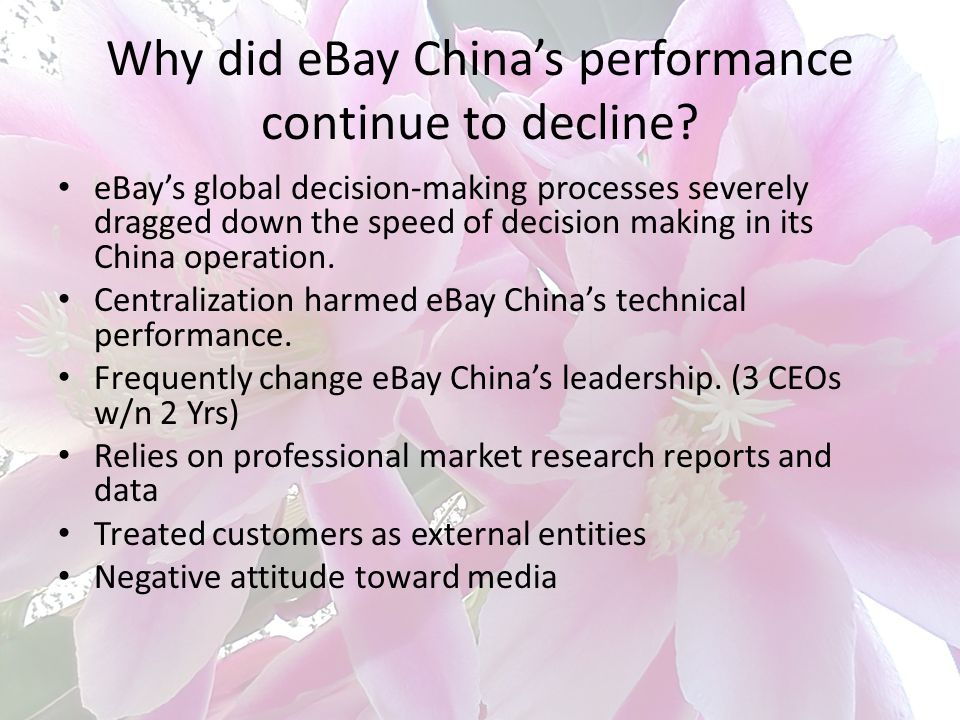 Why did eBay China's performance continue to decline