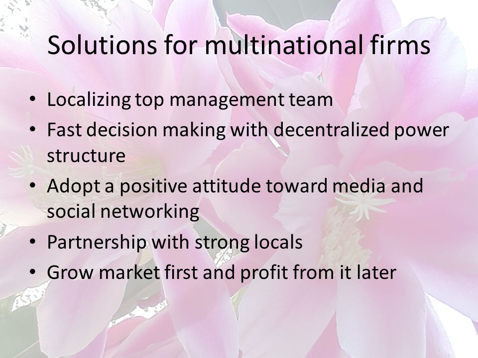 Solutions for multinational firms