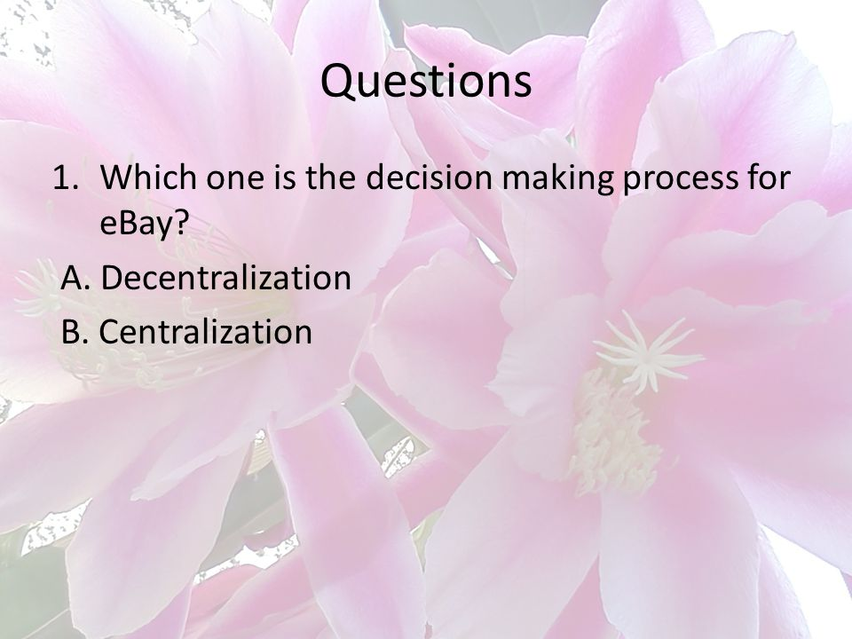 Questions Which one is the decision making process for eBay