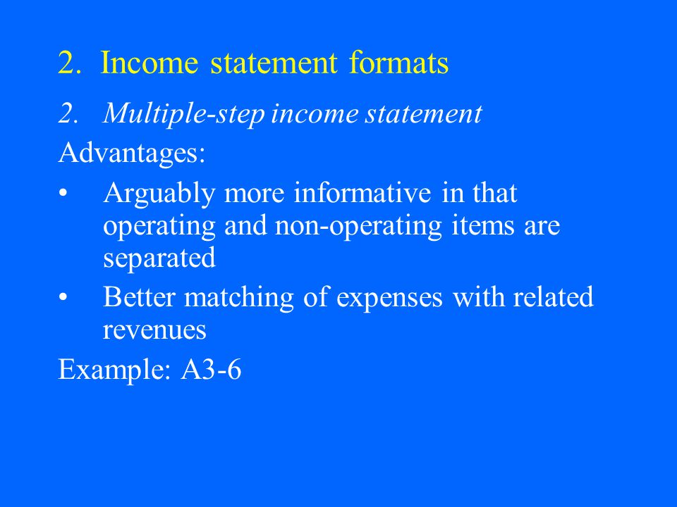 2. Income statement formats