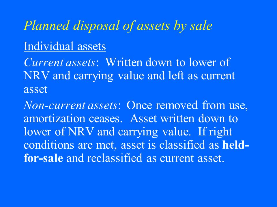 Planned disposal of assets by sale