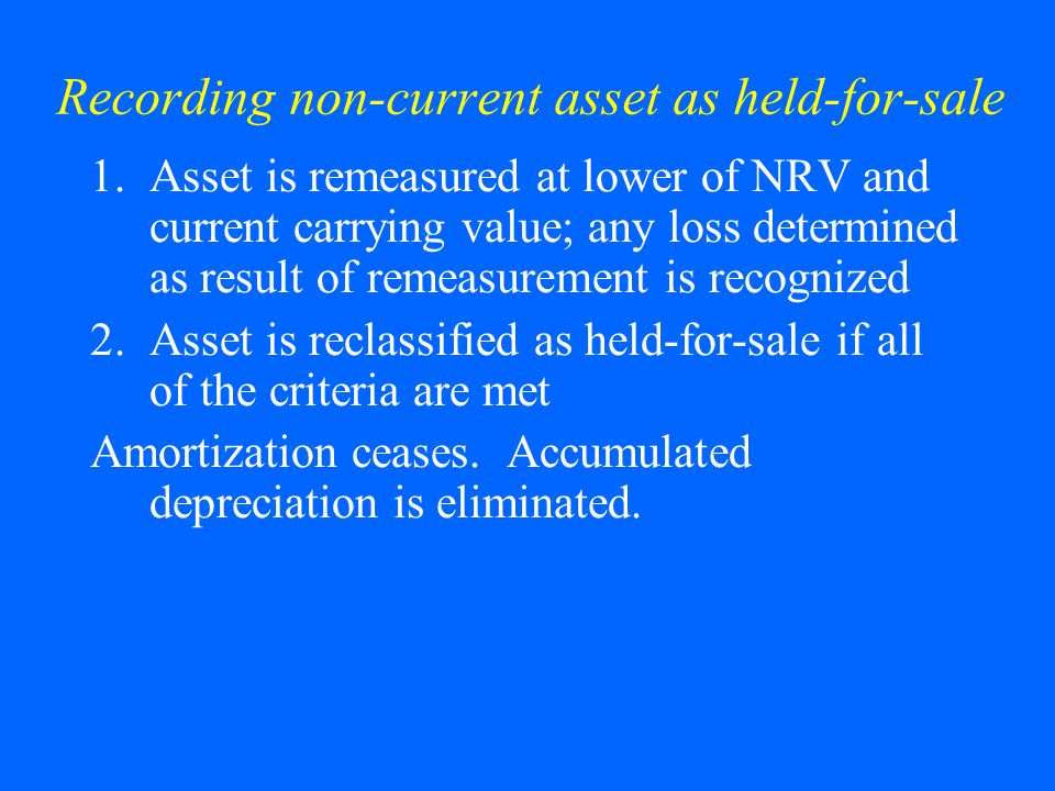 Recording non-current asset as held-for-sale