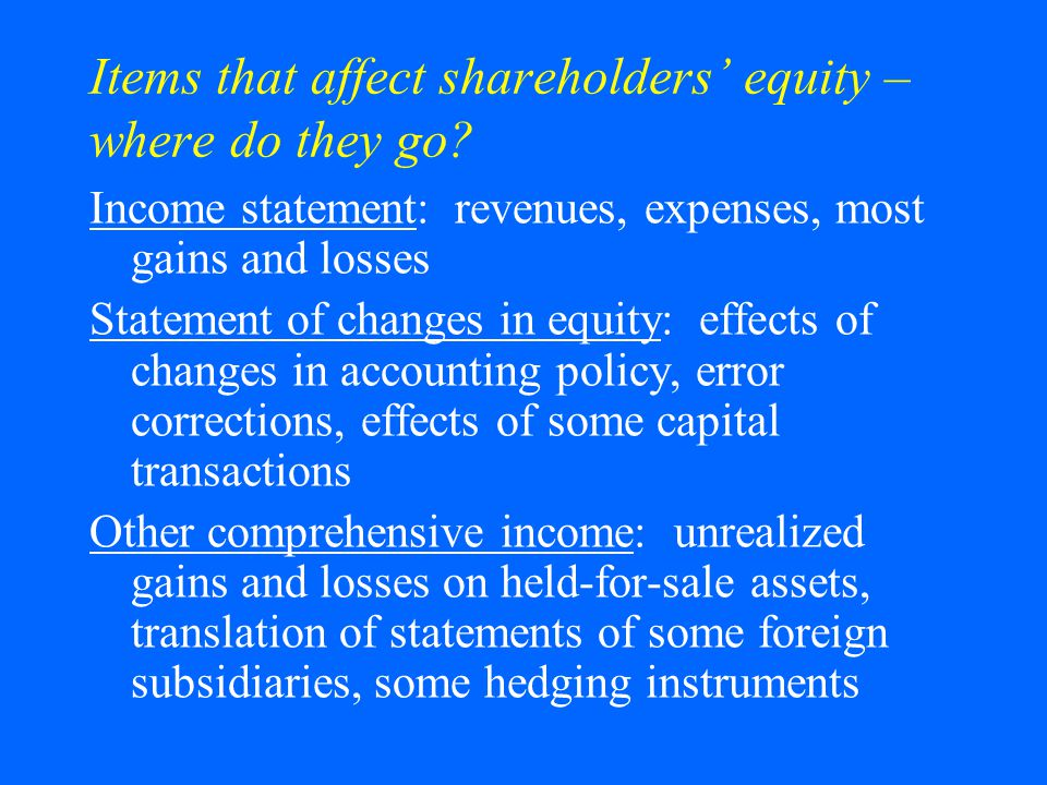 Items that affect shareholders' equity – where do they go