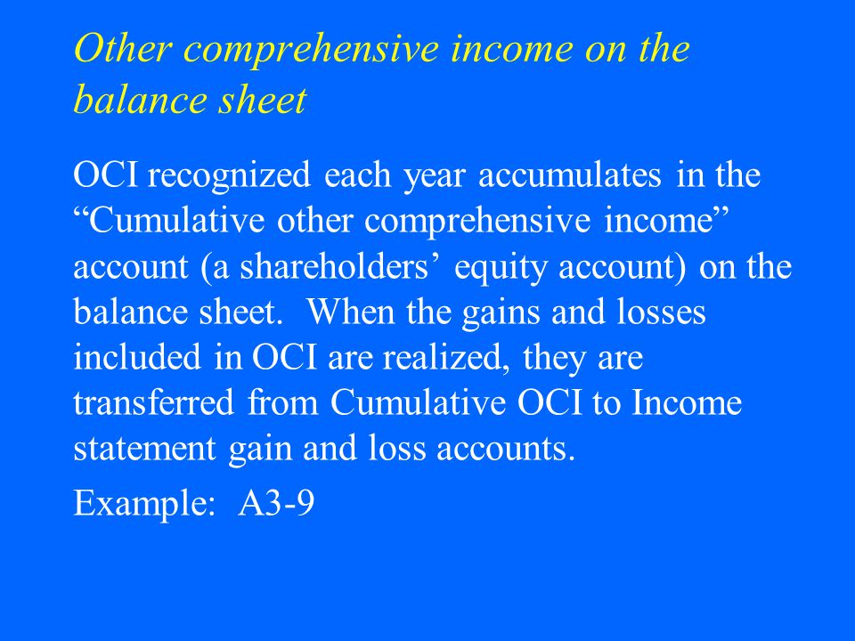 Other comprehensive income on the balance sheet