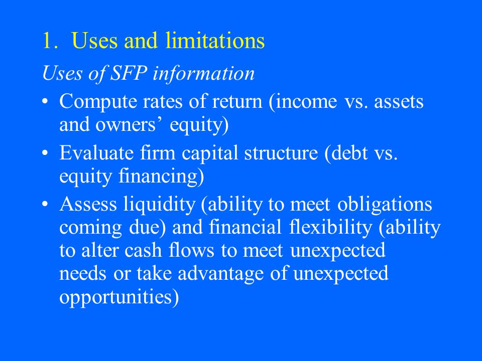 1. Uses and limitations Uses of SFP information