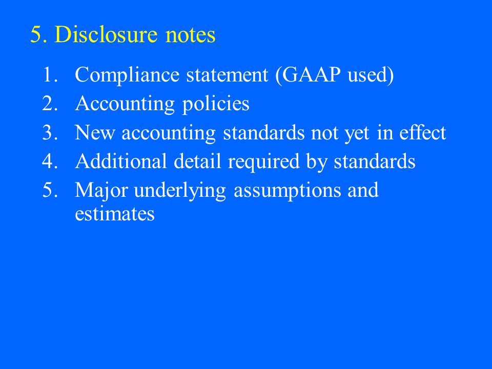 5. Disclosure notes Compliance statement (GAAP used)