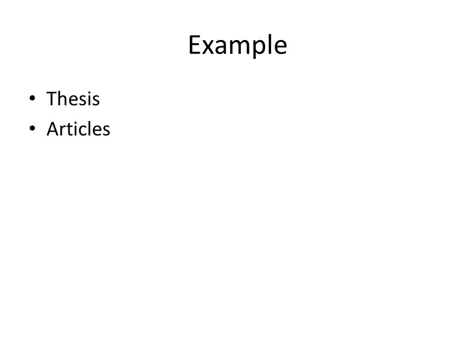 Example Thesis Articles