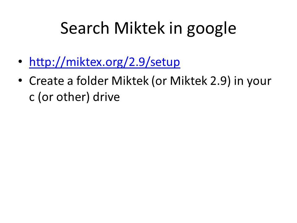 Search Miktek in google