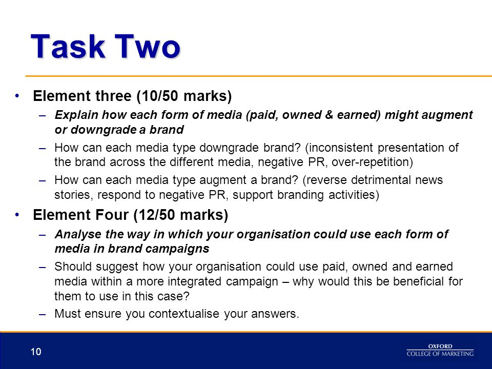Task Two Element three (10/50 marks) Element Four (12/50 marks)