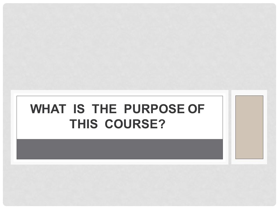 What is the purpose of this course