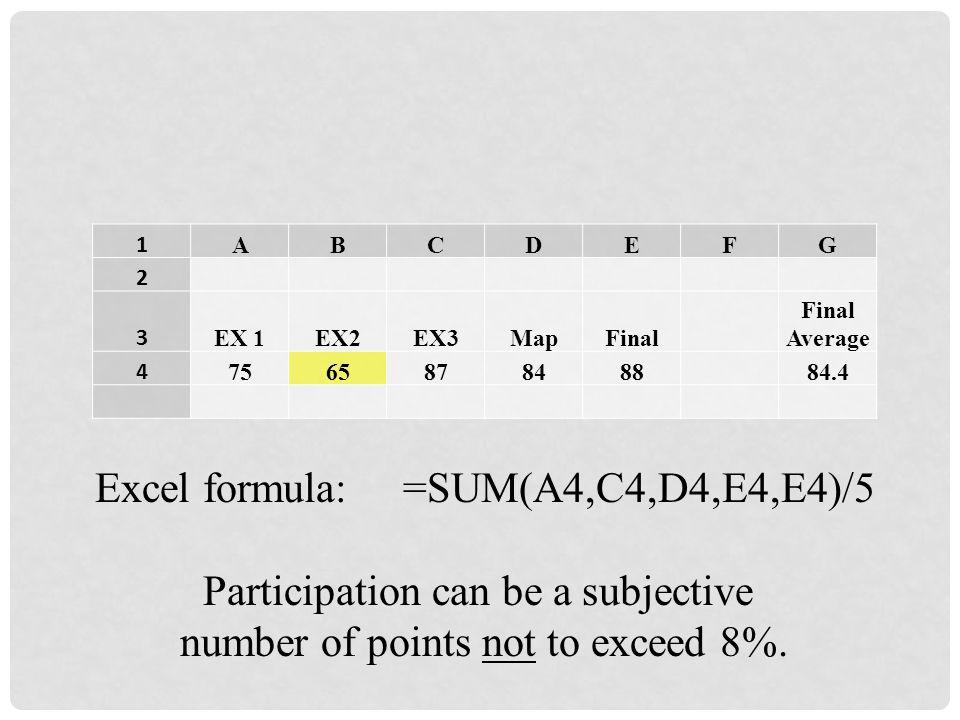 Excel formula: =SUM(A4,C4,D4,E4,E4)/5