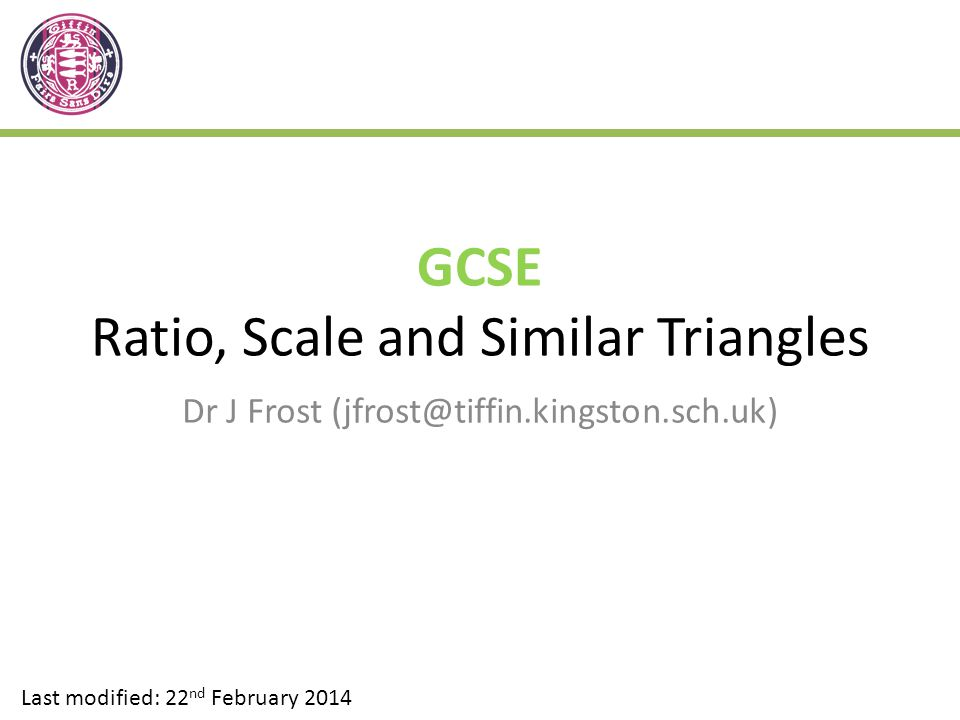 GCSE Ratio, Scale and Similar Triangles