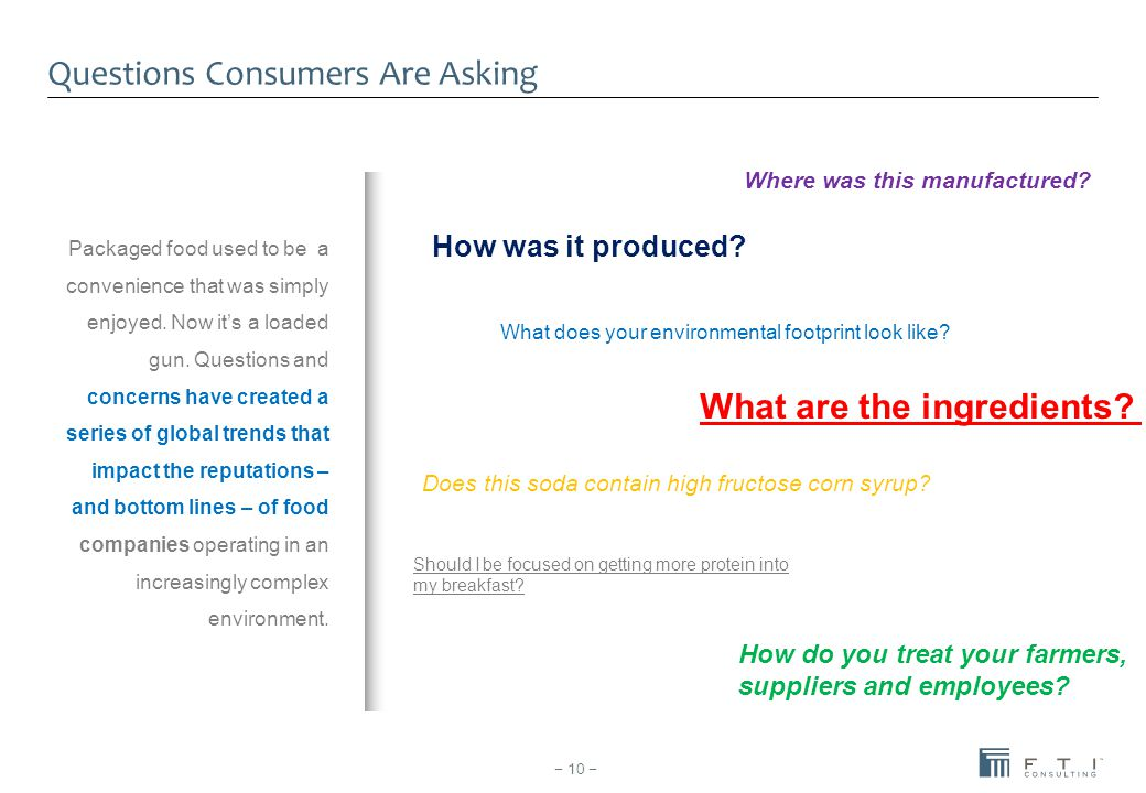 Questions Consumers Are Asking