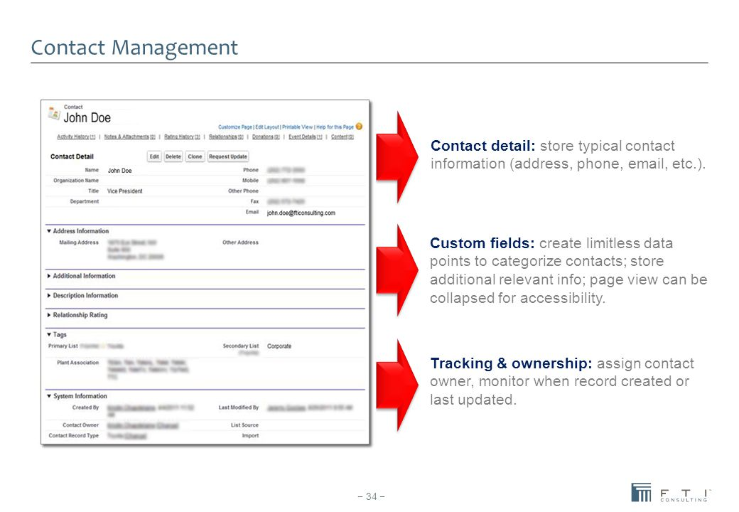 Contact Management Contact detail: store typical contact information (address, phone, email, etc.).