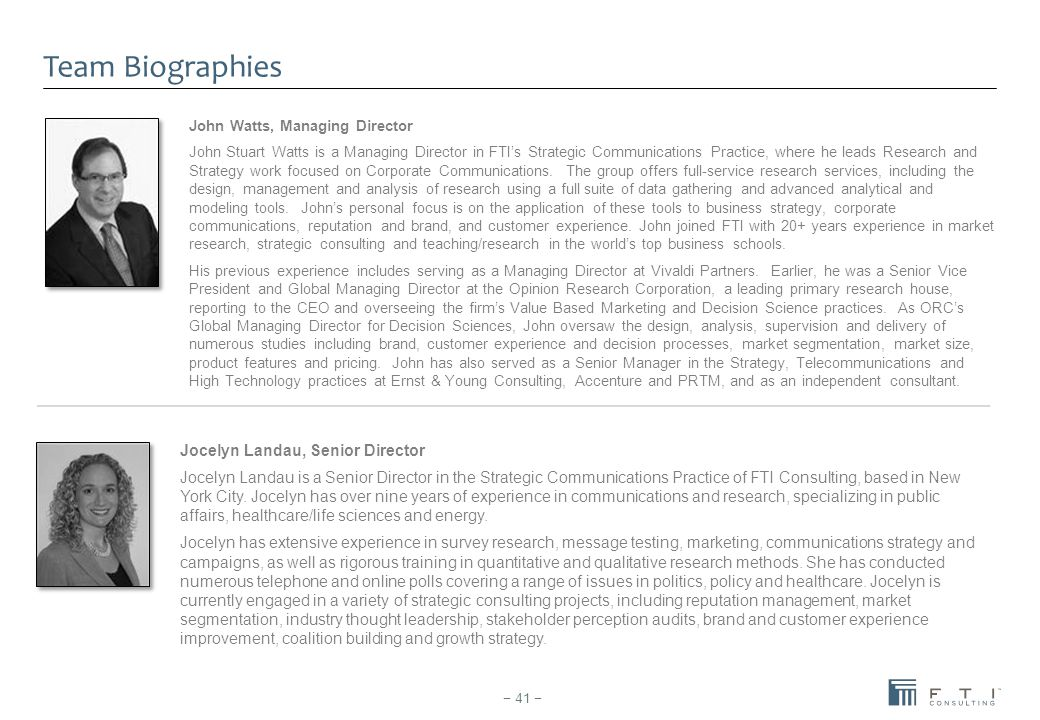 Team Biographies Jocelyn Landau, Senior Director