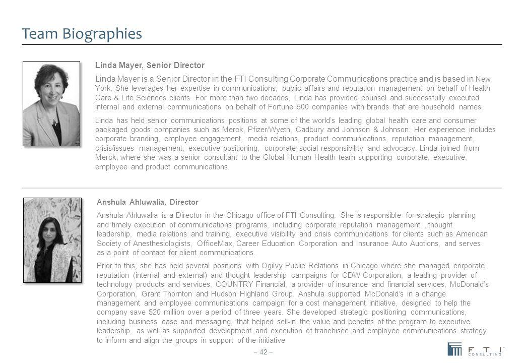 Team Biographies Linda Mayer, Senior Director