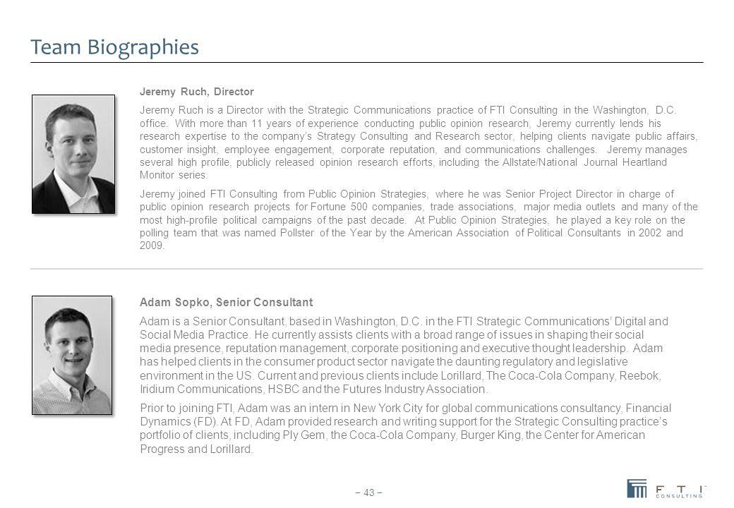 Team Biographies Adam Sopko, Senior Consultant