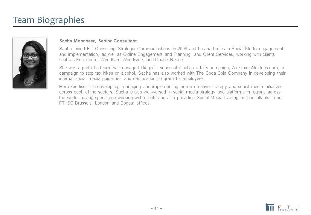Team Biographies Sacha Mohabeer, Senior Consultant