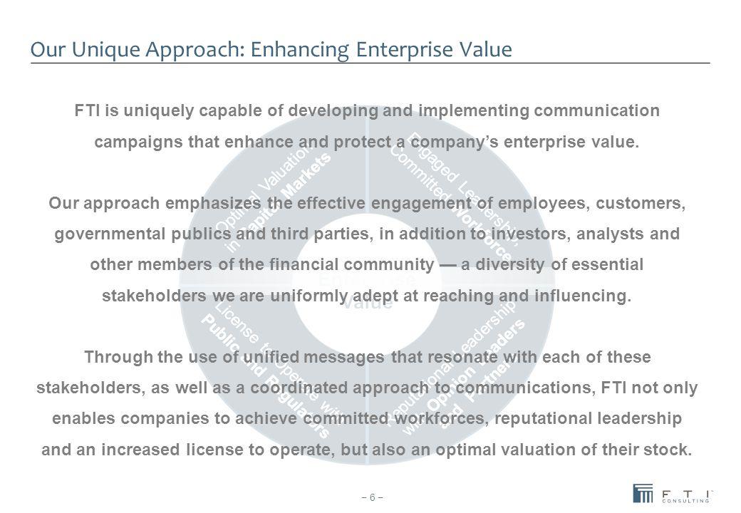 Our Unique Approach: Enhancing Enterprise Value