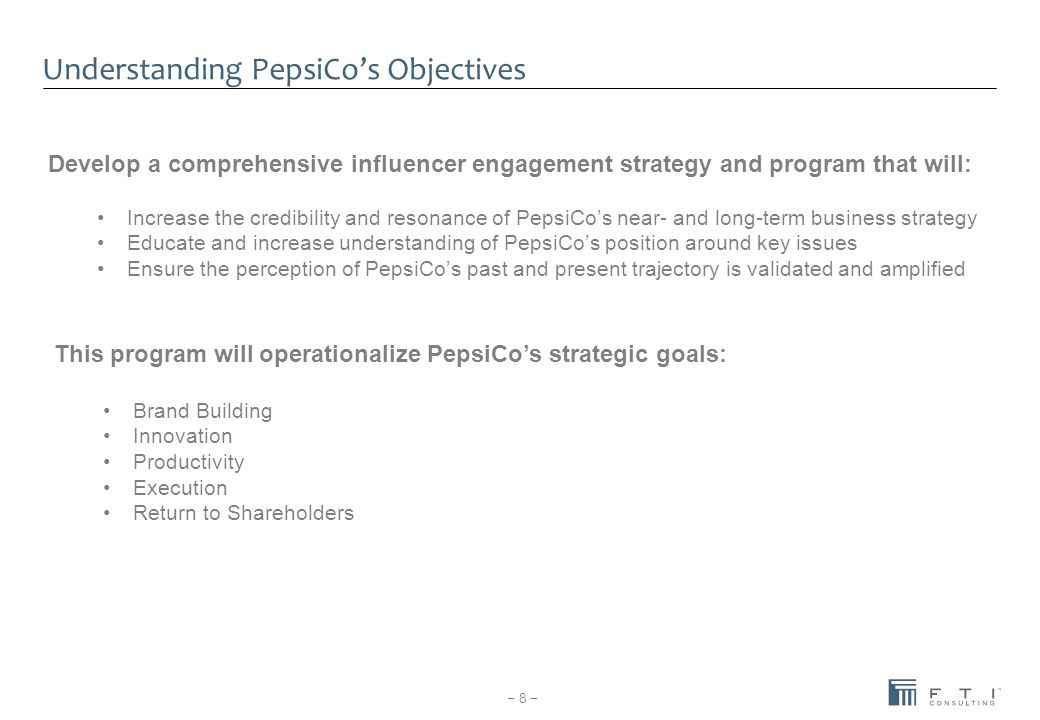 Understanding PepsiCo's Objectives