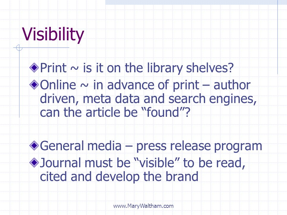 Visibility Print ~ is it on the library shelves