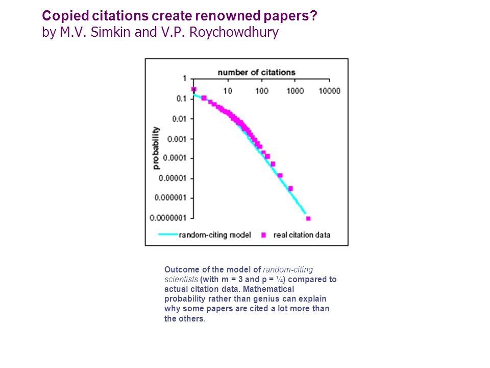 Copied citations create renowned papers. by M. V. Simkin and V. P