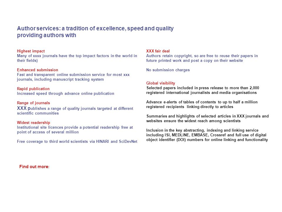 Author services: a tradition of excellence, speed and quality providing authors with