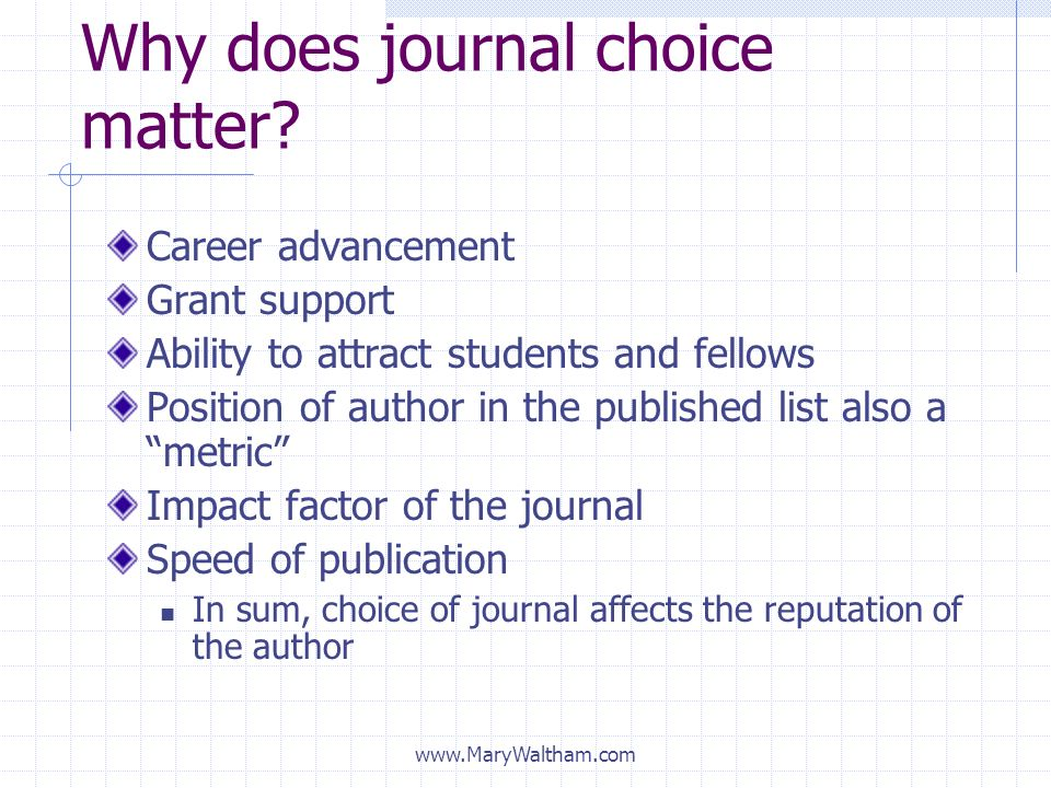 Why does journal choice matter