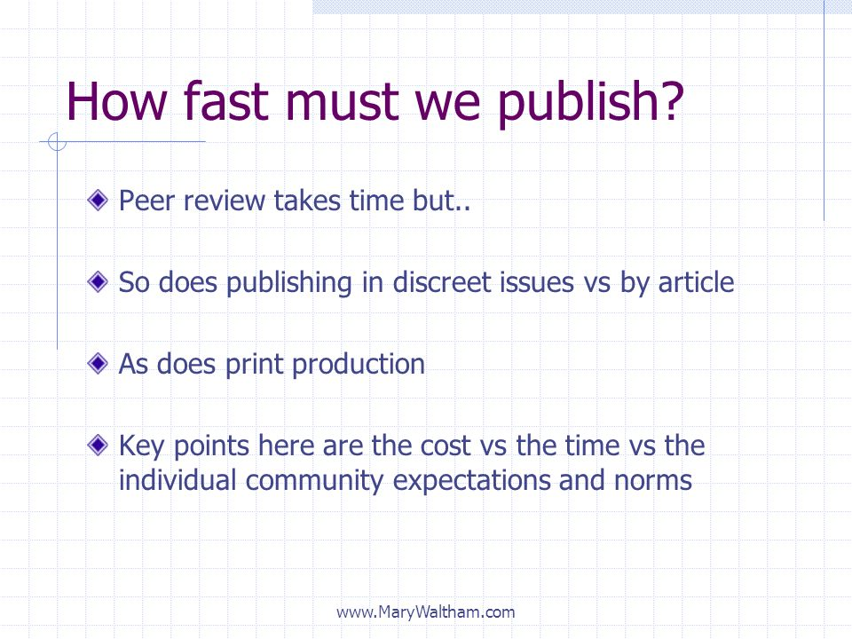 How fast must we publish