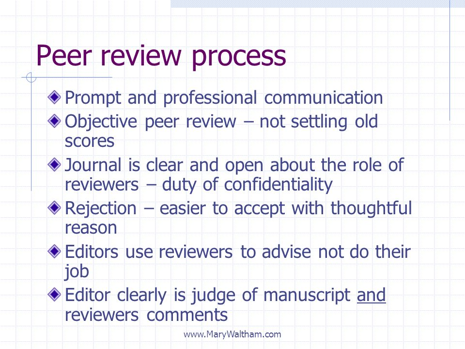 Peer review process Prompt and professional communication