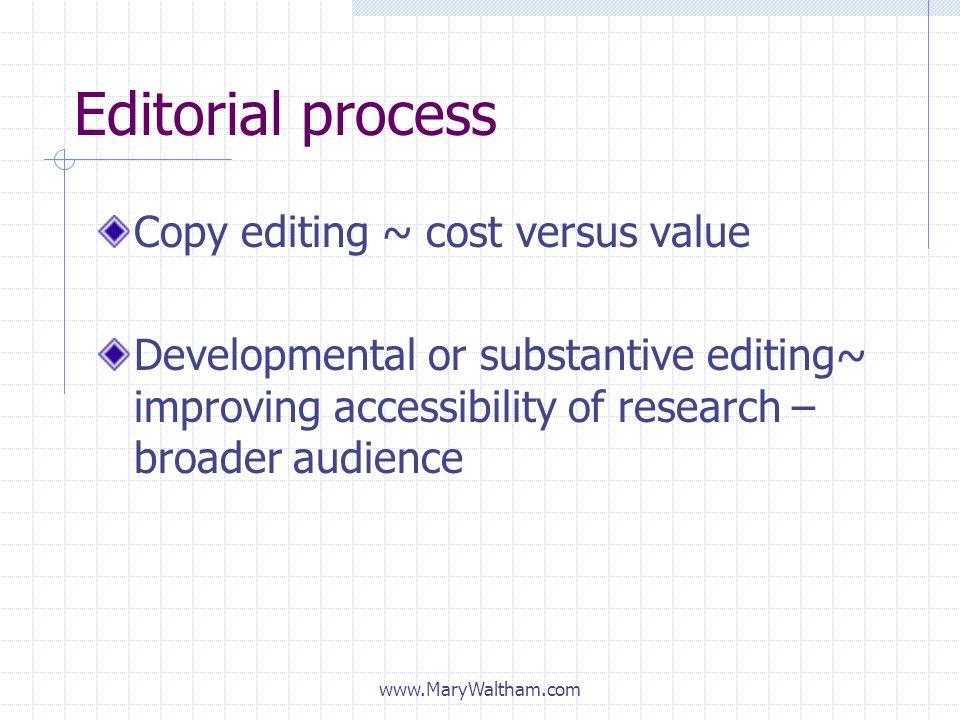 Editorial process Copy editing ~ cost versus value
