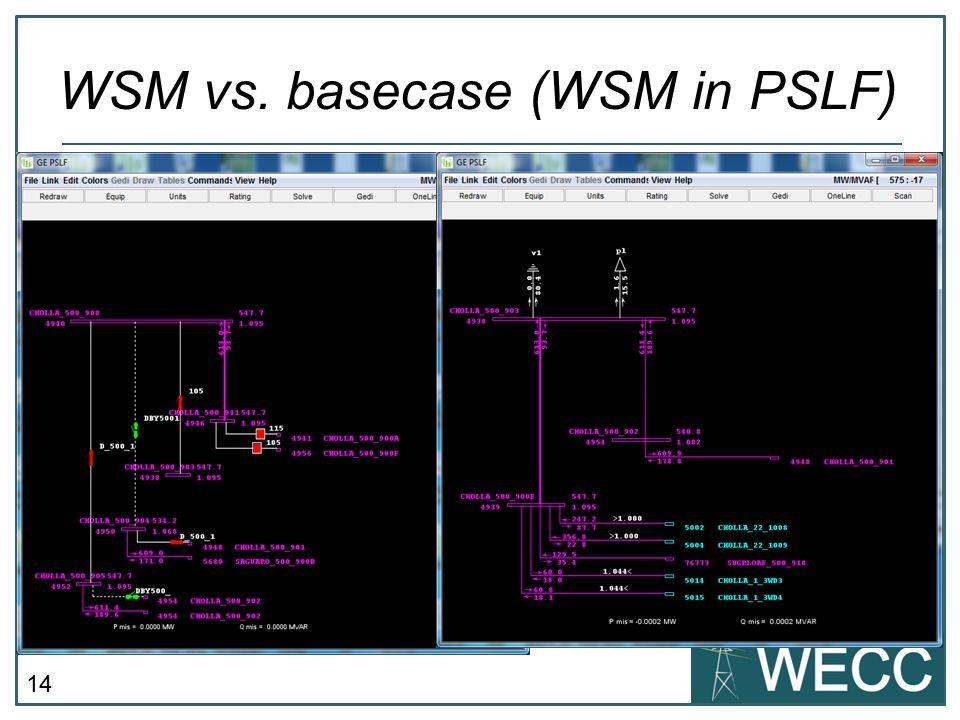 WSM vs. basecase (WSM in PSLF)
