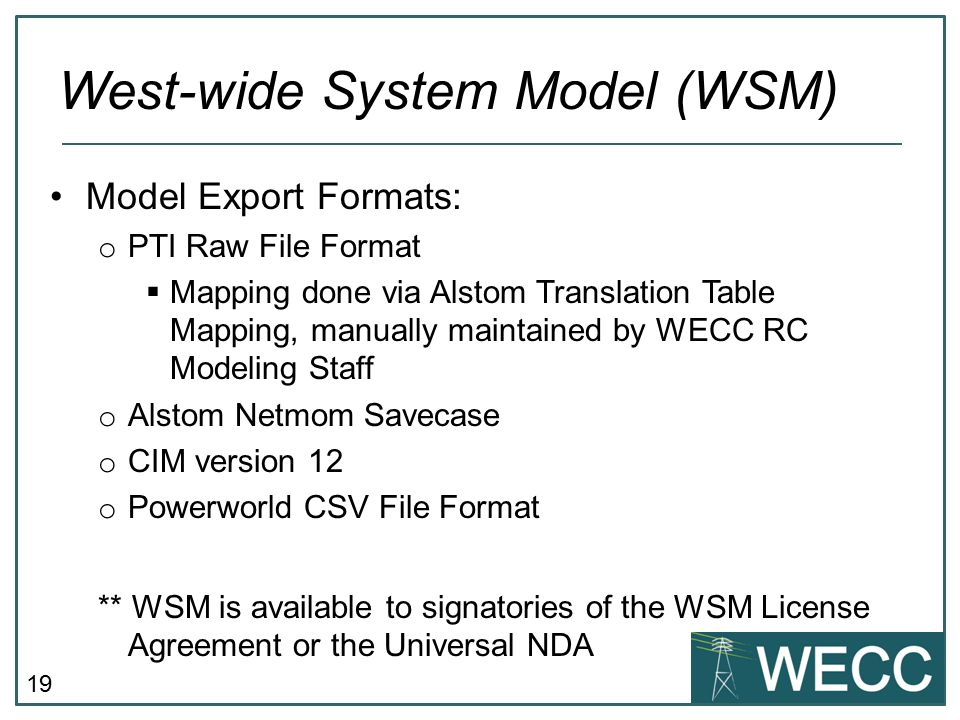 West-wide System Model (WSM)