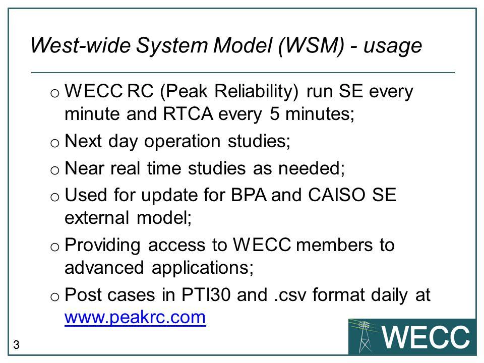 West-wide System Model (WSM) - usage