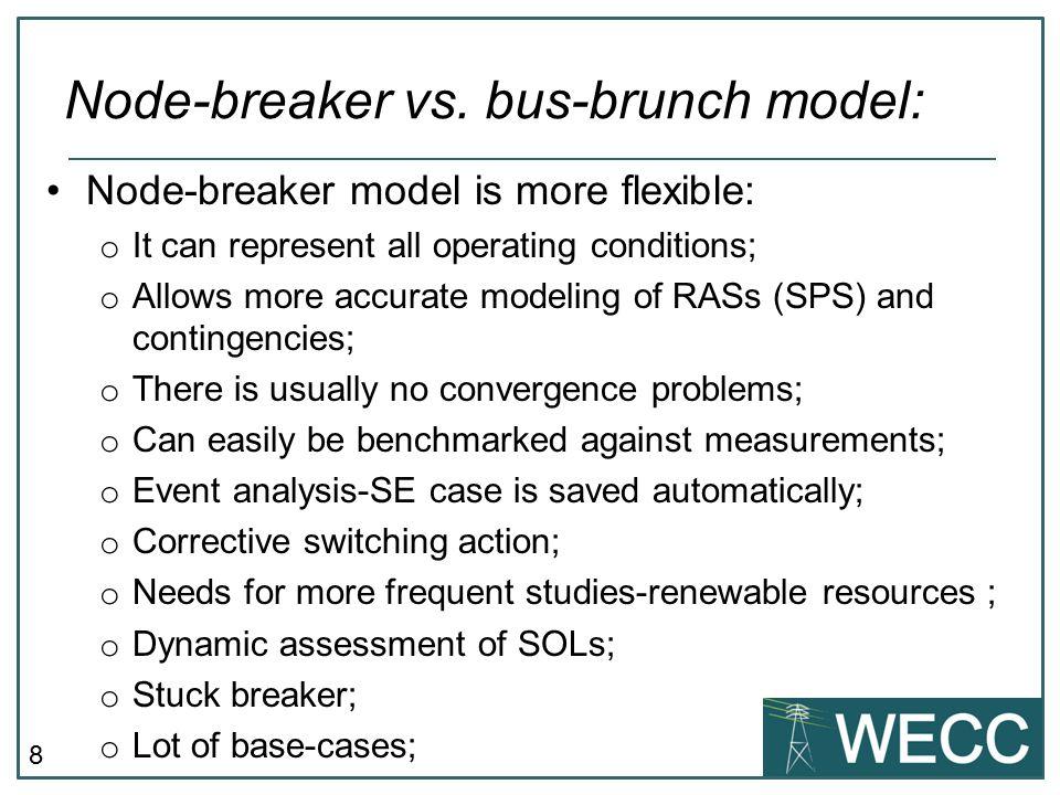 Node-breaker vs. bus-brunch model: