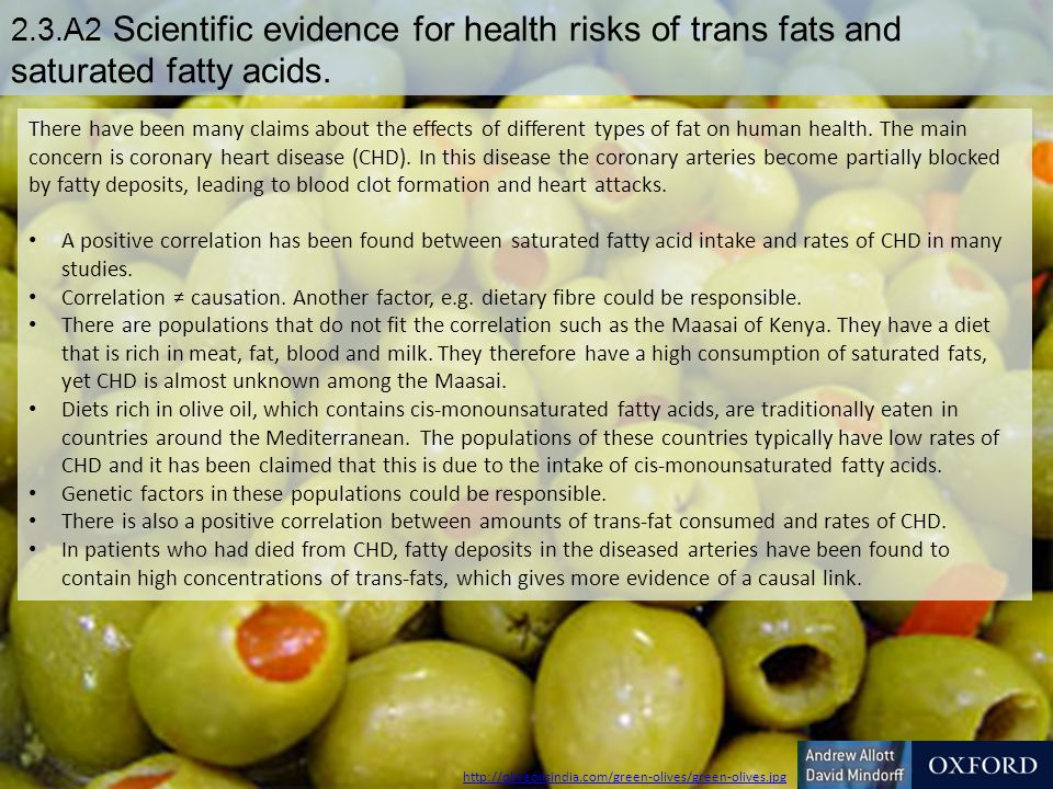 2.3.A2 Scientific evidence for health risks of trans fats and saturated fatty acids.