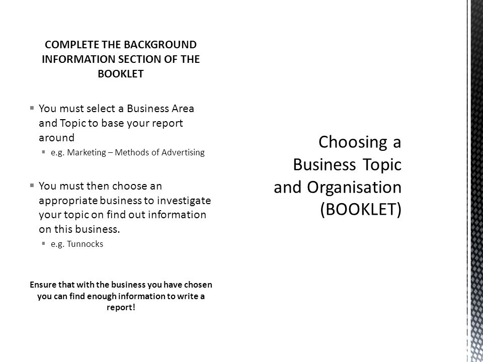 Choosing a Business Topic and Organisation (BOOKLET)