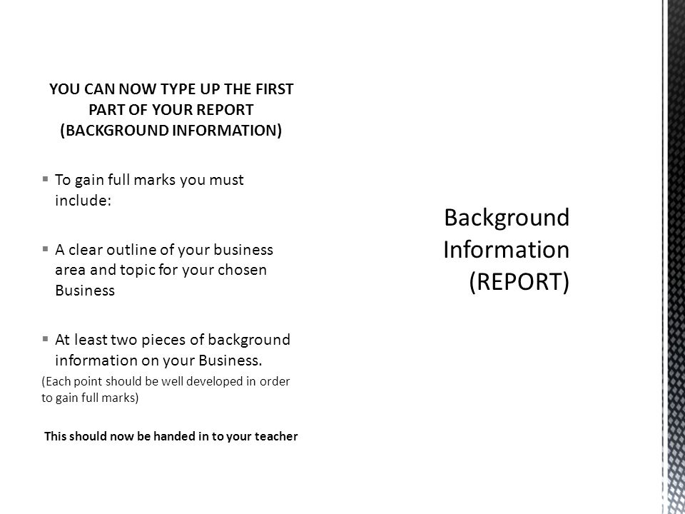 Background Information (REPORT)