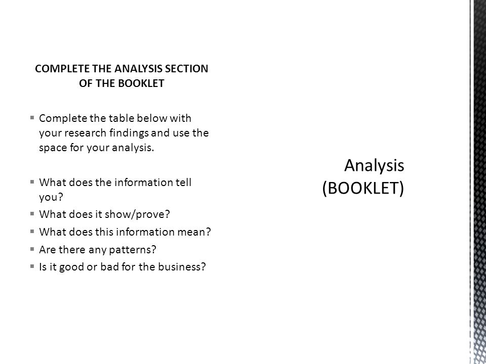 COMPLETE THE ANALYSIS SECTION OF THE BOOKLET