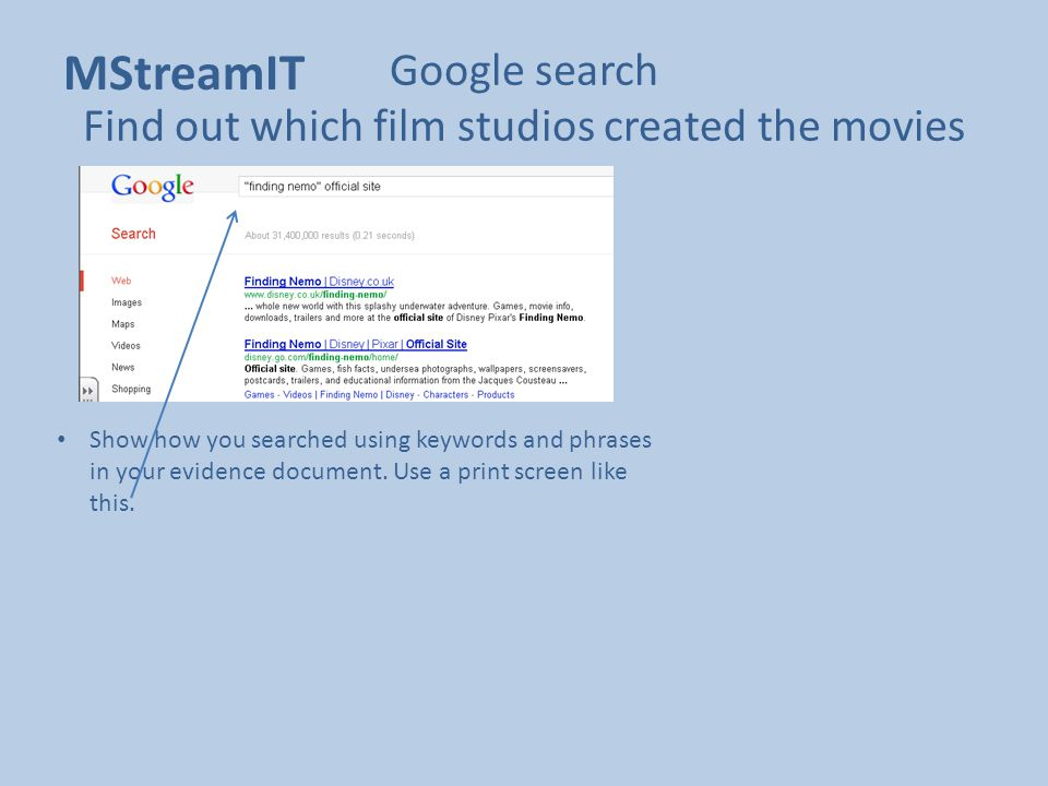 Google search Find out which film studios created the movies