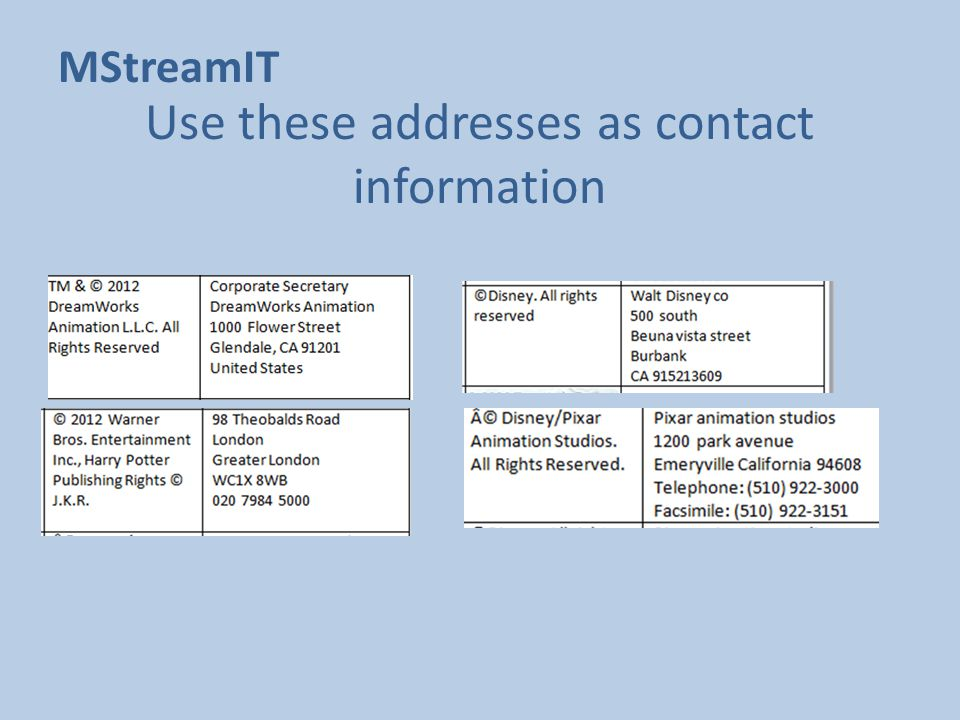 Use these addresses as contact information