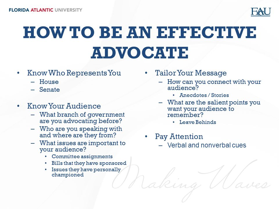HOW TO BE AN EFFECTIVE ADVOCATE
